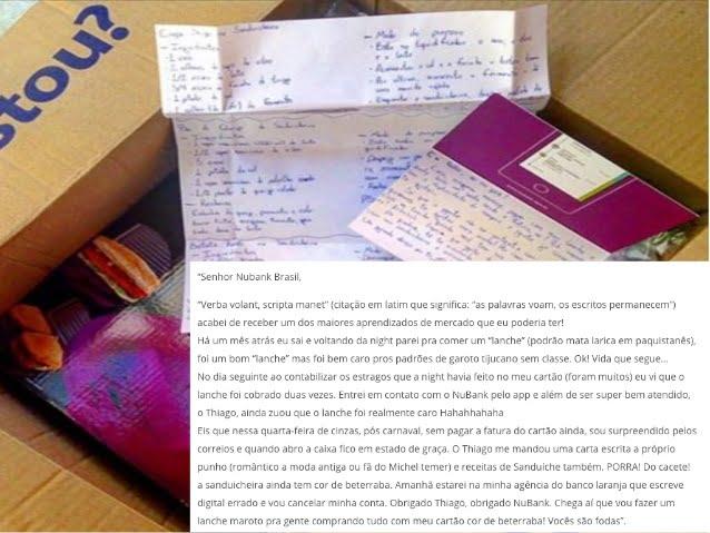 O próprio cliente publicou nas redes sociais sobre sua sanduicheira roxa da Nubank como um case de atendimento ao cliente.